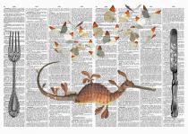 Set de table dictionnaire avec couverts et papillons